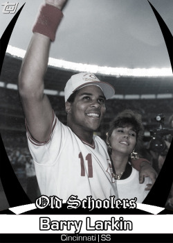 "twjcards:  Card #118, Cincinnati legend and Hall of Famer Barry Larkin  Hey. Hey. Hey, now. Barry Larkin played while I was growing up. He is not an ""old-schooler."""