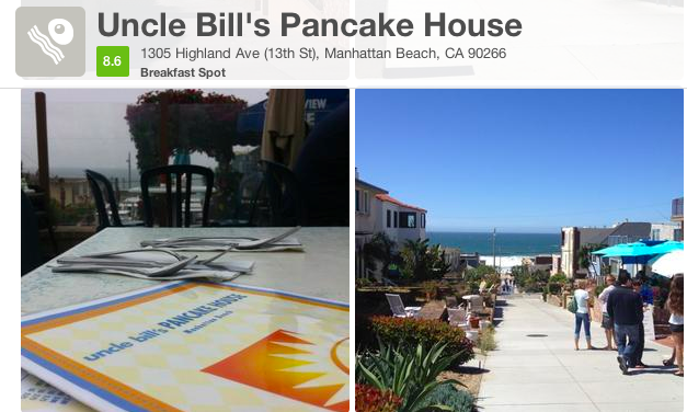 Looking to grab some delicious pancakes with an ocean view? Try Uncle Bill's Pancake House in Manhattan Beach.  SoCal Living at it's best!