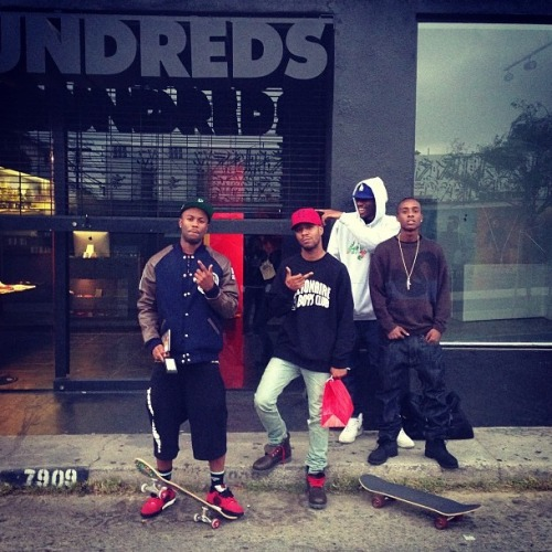 "KiD CuDi swung by The Hundreds store in Los Angeles recently with fellow rapper Casey Veggies. According to Complex, Cudi is rocking a Billionaire Boys Club sweatshirt and Mark McNairy x BBC ""Bee Line"" Timberland boots.  Last time Cudi made was spotted at The Hundreds store he purchased a $2,000 gift card and let people buy what ever they wanted. Photo via pncintl"