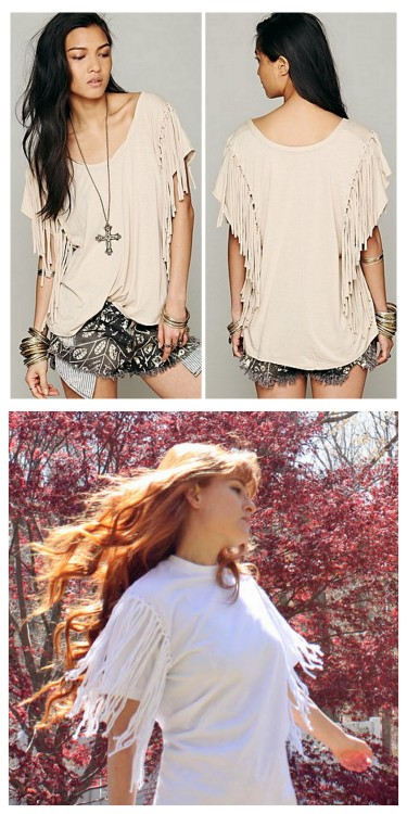 truebluemeandyou:  DIY Knockoff Free People Fantasy Fringe Tee Shirt Restyle Tutorial from Rock Mosaic here. This tutorial uses 2 men's undershirts (sold in packs and cheap) but you can use any tees you want. The knots are tied using Larks Head knots. Top Photo: $78 Free People Fantasy Fringe Tee here, Bottom Photo: DIY by Rock Mosaic. For over 25 pages of DIY tee shirt projects go here:truebluemeandyou.tumblr.com/tagged/tee-shirt and for knockoffs go here: truebluemeandyou.tumblr.com/tagged/knockoff