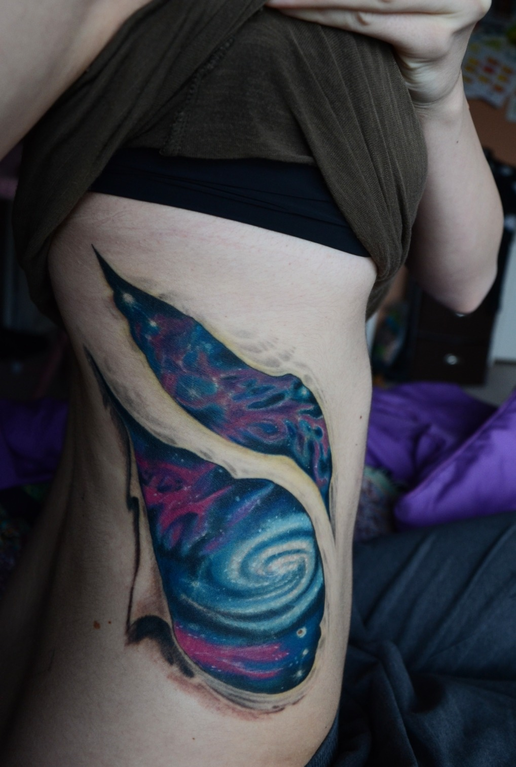 "intentionallyunintentional:    fuckyeahtattoos:    complete; artwork & inked by Steve Lemak of Quillian Tattoo (Allentown, Pennsylvania). I wanted a tattoo that would embrace my love for astronomy and consciousness of being. I remember years ago realizing the fact that we were made of star stuff when I was watching an episode of Carl Sagan's ""Cosmos"" series. Since then, my entire outlook on life has changed. Our ability to experience is so cherishable. I am not one of religion, but the feelings that I experience when I think about our origins, are not unlike spirituality. ""We are part of this universe, we are in this universe, but perhaps more important than both of those facts… is that the universe is in us. When I reflect on that fact… many people feel small, cause they're small and the universe is big, but I feel big! Because, my atoms came from those stars."" - Neil DeGrasse Tyson    This has nothing really to do with the tattoo (which is beautiful btw) but to point out that spirituality and religion are not one in the same.  You can be spiritual (which you are, judging by this description) without being religious, and you can be religious without being spiritual.  Spirituality is something that is hard to define and that some people have very little of, and that others have a lot of.  It's just a sense of being, and does not necessarily pertain to religion.  Calling it ""not unlike spirituality"", in this case, would be true, because it actually is spirituality. Forgive me, I do not mean to correct or call you something you do not consider yourself to be, but there is a difference between the two, and when I realized that I too recognized a certain deeper level of being, which many would ascertain to a religion but that I cannot, knowing or rather believing that the beauty of life both surrounds us and lives within us: learning about the true meanings of spirituality made me realize I'm a deeply spiritual person, but my ""god"" is not a deity at all (and certainly no religion), merely every observable thing around us (whereas yours is our star stuff and awesome ability of experience and conscious thought.)  :)  Not a higher being, just a divine one.  One does not need a god to believe that.  <3    Was poring through comments on my tatty through my FYT submission. This fellow Tumblr'er hit the nail on the head. yesyesyes"