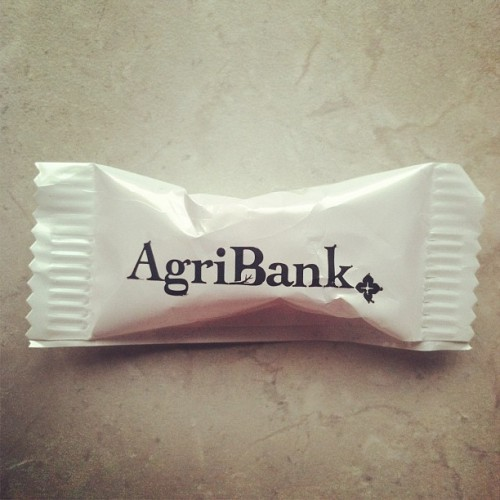 The logo I made for AgriBank now printed on tiny mints for your enjoyment.