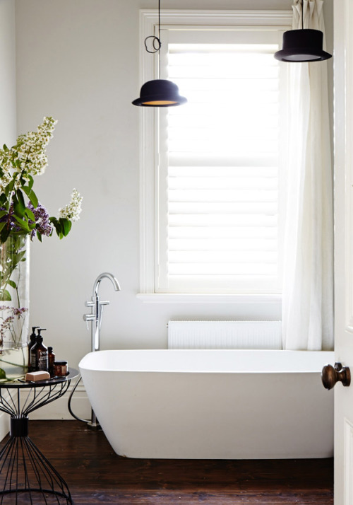 thebowerbirds:  Source: The Design Files Hat's off to this cool bathroom……….lame I know. Ok ok, so they are called the Wooster Top Hat pendant lights and you can find them at Rockett St George.