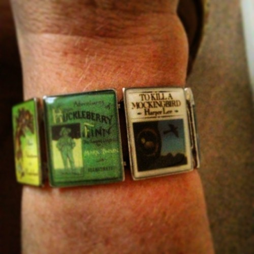 It looks even better on! If you love classic books, this bracelet is for you! #book #bracelet  (at Momma's Place)