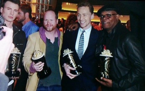 Chris Evans, Joss Whedon, Tom Hiddleston, Samuel L. Jackson backstage after winning Best Fight at the #MTVMovieAwards