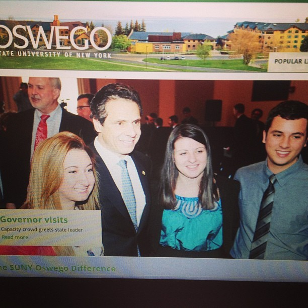 Well this happened today…made the front page of the Oswego website 😳