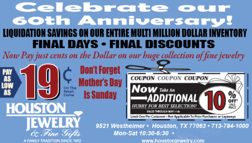 Remember Mom Today at the Final Day of Our 60th Anniversary Sale!