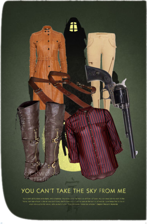 defectillusions:   Browncoats by defectiveillusions featuring cargo pants ONLY striped top, $28 / Burberry leather coat / Ralph Lauren cargo pants / Over the knee flat boots / Brown leather suspender / Firefly 10th Anniversary Poster