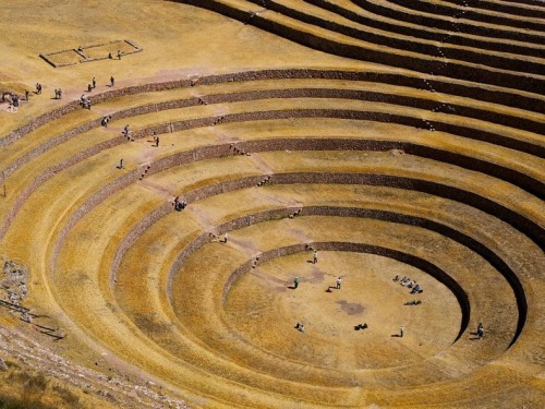 Agricultural Terraces of the Incas via Amusing Planet One of the most visually stunning Inca ruins is at Moray, an archaeological site in Peru approximately 50 km northwest of Cuzco and just west of the village of Maras. In a large bowl-like depression, is constructed a series of concentric terraces that looks like an ancient Greek amphitheater. The largest of these terraces are at the center – they are enormous in size, and descend to a depth of approximately 150 meter, leading to a circular bottom so well drained that it never completely floods, no matter how plentiful the rain. The concentric terraces are split by multiple staircases that extend upward like spokes of a wheel and enable people to walk from the top to the bottom of the bowl. Six more terraces, in connected ellipses rather than perfect circles, surround the concentric heart of Moray, and eight terraced steps that cover only a fraction of the perimeter overlook the site. The purpose of these depressions is uncertain, but the most widely agreed theory is they used to serve as 'agricultural research station'.