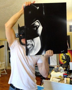 Me n' my BATMAN painting. And yes, I just happen to wear this mask everyday, not just when I take pics with my Batman paintings. It's my 'every day' mask.  facebook.com/artbyleehowardforsomereason,itmightsaytheLinkisbroken