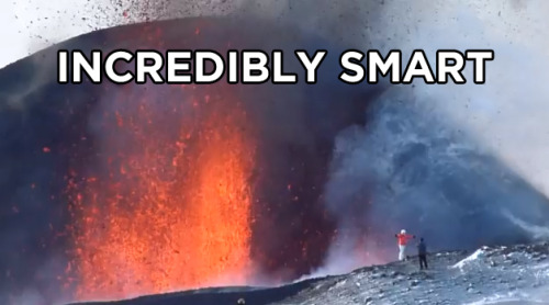 Watch some tourists pose with an erupting volcano in Russia.