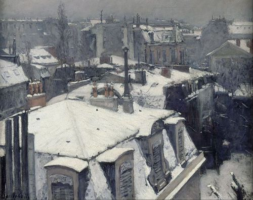 athousandwinds:    Snow-Covered Roofs in Paris, 1878, oil on canvas by Gustave Caillebotte, French, 1848-1894.  Caillebotte was born to an upper class Parisian family and was a lawyer and an engineer. He fought in the Franco-Prussian war before studying art seriously with Leon Bonnat. This painting is in the Musee d'Orsay in Paris, France.