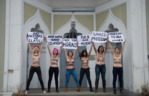 "via The Atlantic  Members of Ukrainian feminist group Femen staged protests across Europe as they called for a ""topless jihad."" The demonstrations were in support of a young Tunisian activist named Amina Tyler. Last month, Tyler posted naked images of herself online, with the words ""I own my body; it's not the source of anyone's honor"" written on her bare chest. The head of Tunisia's ""Commission for the Promotion of Virtue and Prevention of Vice,"" reportedly called for Tyler to be stoned to death for her putatively obscene actions, lest they lead to an epidemic. Tyler has since gone quiet, leading some to fear for her safety.  Images from Femen's protests in Sweden, Italy, Ukraine, Belgium, and France here: [31 photos]  view more photos"
