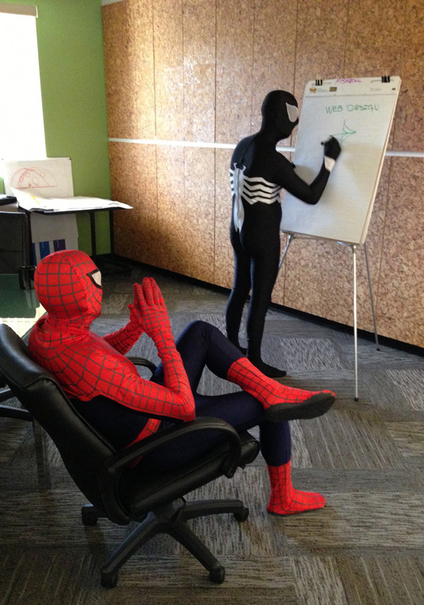 "iheartchaos:  Cosplay of the day: Spider-Man and Venom: Web Designers ""Have we considered shooting them out of our wrists? That would optimize our SEO, maybe."""