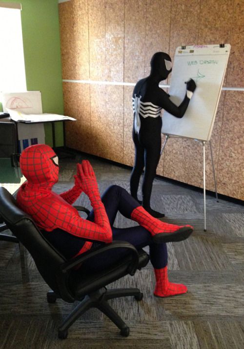 "Cosplay of the day: Spider-Man and Venom: Web Designers ""Have we considered shooting them out of our wrists? That would optimize our SEO, maybe."""