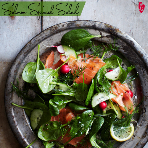 Eat Clean! This salmon spinach salad is just the right meal to fuel you through the day :)Recipe:3 tablespoons onion choppedhandful of cherry tomatoes10 cups baby spinach1/2 cup sliced almonds toasted4 ounces feta cheese crumbledsliced novavia Ellie
