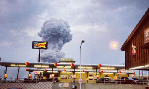 Smoke plume from the Texas explosion at the town of West, near Waco. Follow live updates from the Guardian.  [Photograph: Andy Bartee/AP]