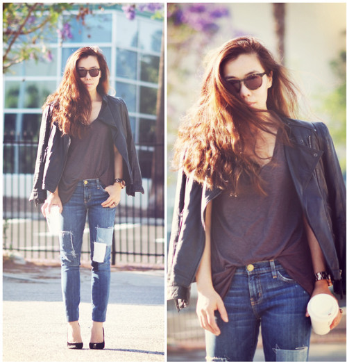 lookbookdotnu:  Leather Biker and Patched Denim (by Hallie S.)