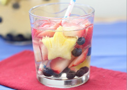 itspartyrehab:  Summertime SangriaIngredients & Measurements: 2 Bottles of Dry White Wine 1/2 cup Triple Sec 3 cups Club Soda 1 1/2 cup Sliced Strawberries 1 cup Blueberries 1 cup diced Pineapple 1/2 cup Simple Syrup (Optional) Instructions:Combine all of the ingredients in a large pitcher. Stir well and refrigerate for at least 4 hours before serving.Note: To prepare simple syrup, combine about 1/2 cup sugar and 1/2 cup water in a small saucepan. Heat until the sugar dissolves. Mixture should thicken as it cools. Add as much syrup as you desire to sweeten the sangria.