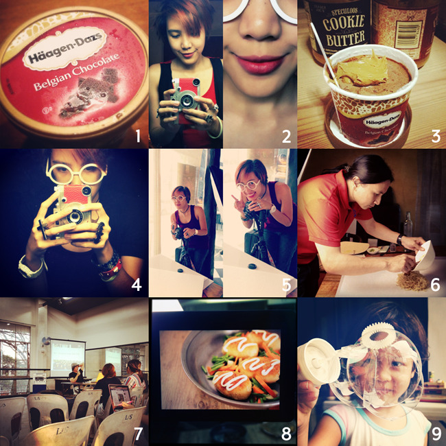 Instagram Sunday! 1 I love that I still get to have Häagen-Dazs ice cream, thanks to my dad. Woohoo! 2 Watching 2 Broke Girls seems to have influenced my taste in lipstick. I used to be afraid of trying darker lipsticks, but I think they suit me and my red hair and my love for dark clothes better. Kat Dennings, ILY! 3 Speculoos + ice cream = HEAVEEEEEN 4 Woke up before sunrise after aaaaages. 5 Shooting with our new surfaces! 6 And our shoot was for the awesome Chef Laudico! We love how he's so easy going, and how he styles so quickly and pretty much effortlessly. 7 Kiks gave a talk at the Ateneo ID thesis exhibit! I spy an uninterested student on Facebook? LOL, just kidding. 8 Another shoot in the same week! I could do this foreverrrrrr. 9 Played with bubbles this weekend at our second garage sale. Oh to be a kid. :)