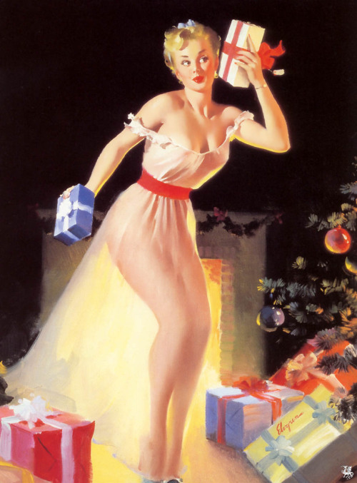 Gil Elvgren - A Christmas Eve (Waiting for Santa)