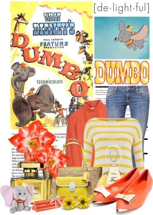 "Dumbo is Delightful by queenrachietemplateaddict featuring bootcut jeansLinea Weekend boatneck top, $53 / Nicole Farhi bubble coat, $590 / GUESS bootcut jeans, $135 / Coach crochet handbag / Yellow jewelry / First perfume / Jean Patou  / True Grace Pack of 6 Column Candles - Fluo Orange - 12""x7/8"", $15 / ARTFITSHOP,ENVER tote shoulder satchel bag / Dumbo Plush Medium 15"