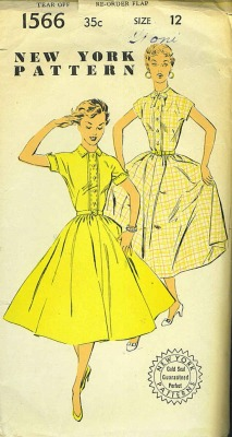 theniftyfifties:  1950s shirt-dress sewing pattern illustrations.