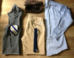 OOTD:  Chinos - Brooks Brothers Belt - unknown (thrifted) OCBD - Brooks Brothers Tie - Brooks Brothers Vest - Paragonia Shoes - Sperry Top Siders