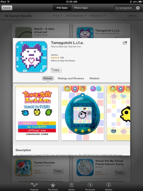 The Tamagotchi L.i.f.e. app is finally on the Apple App Store for free! Get it now, and get your retro on!