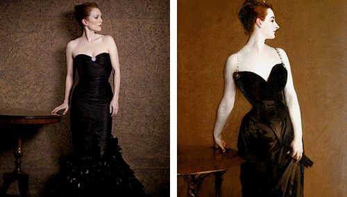 "nathanjohnson:  Julianne Moore as ""Famous Works of Art"" by Peter Linderbergh - for Harper's Bazaar Seated Woman With Bent Knee by Egon Schiele, La Grande Odalisque by Ingres, Saint Praxidis by Vermeer, The Cripple by John Currin, Les danseuses by Edgar Degas, Madame X by John Singer, Girl with a Pearl Earring by Vermeer, Woman With a Fan by Modigliani, Man Crazy Nurse #3 by Richard Prince, Adele Bloch Bauer I by Gustav Klimt."