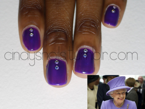 "Daily/Weekly Nail Challenge #16: Queen Today's theme is queen! At first I was going to do something relevant to Queen Frostine from CandyLand, but I scrapped that thought and went with Queen Elizabeth II. I may not live in the UK, but Queen Elizabeth II is adored here in the USA! She's always dressed to the T, yet her outfits are simple and not ""busy"". For some reason I wanted my nails to be purple yet keep it in the ""simple"" category, so I searched until I found a photo of her in purple/violet. To top it off, I debated between rhinestones and a ""jelly sandwich"". Sigh. *The polish I used has a jelly finish, so for it to be completely opaque would take more than the 3 layers I already have on here. I knew if I did any more layers, it would not be pretty. And, as always and until further notice, disregard the index nail. It's still jankity. :( Click here to check out Kelly's royal nails! Colors Used China Glaze - Creative Fantasy Dollar Nail Art - Rhinestones"