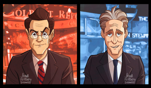 comedycentral:  annarettberg:  Colbert and Stewart… (in color this time)  See, not all Stewart/Colbert fan art is erotic.  But it should be….