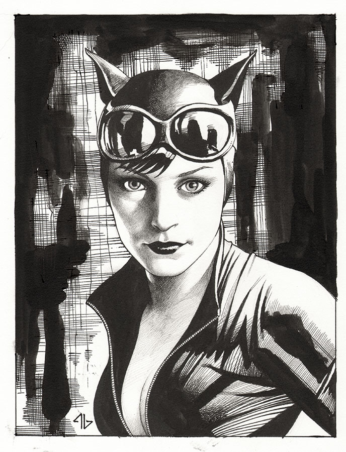 adigranovart:  Catwoman for a friend. Ink on paper.  Adi Granov has a tumblr now….OH SNAP!