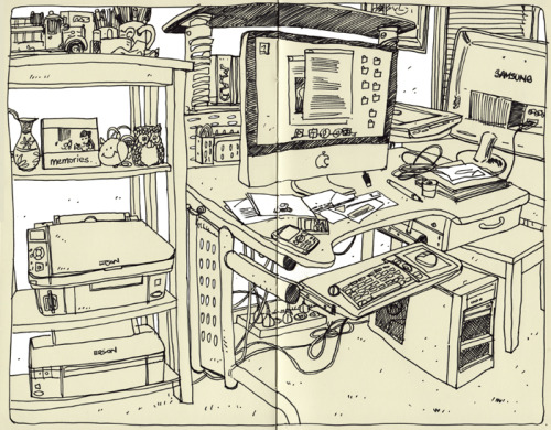salamunicart:  Super fast, early morning warm-up sketch of my workspace. Feels good to be back in the Moleskine. Helps me loosen up a bit and I feel like I'm having more fun with the squigglier lines. :)