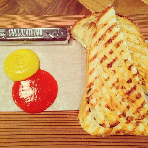 Best grilled cheese in #vancouver (though I have yet to try mom's grilled cheese truck). House-made mustard and hot sauce. ❤ @1meatandbread (at Meat & Bread)