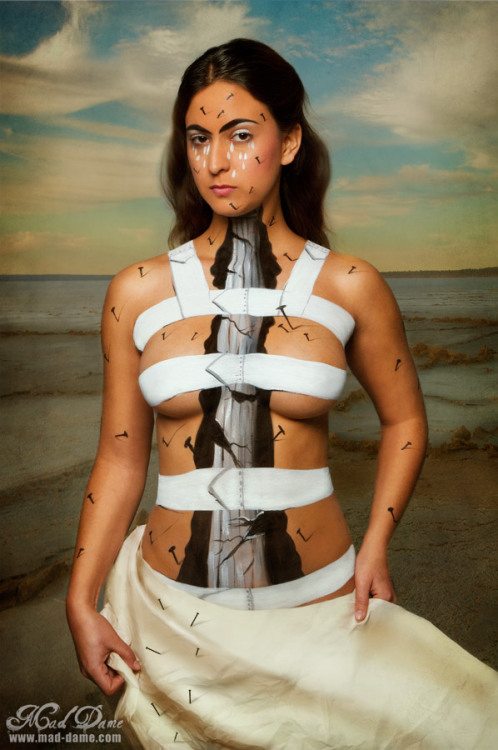 """The Broken Column"" by Frida KahloModeled by Alyssa Warland - ModelBody paint & Photo by: Mad Dame I used a photo i actually took in the desert recently for the background - love it when things work out."
