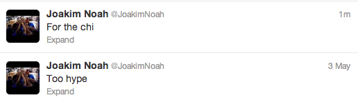 Joakim Noah's last two tweets pretty much sums it up.