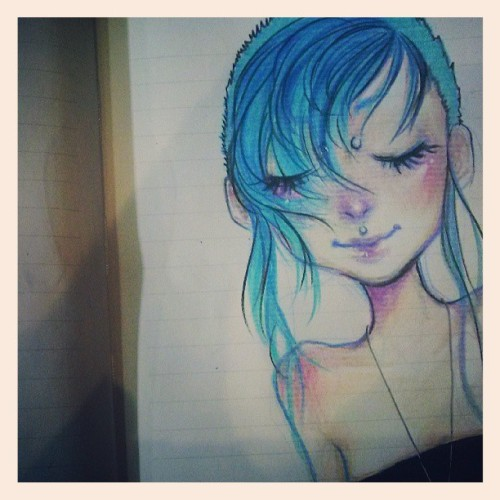 #bluehair #shaved #cute #mellow #doodle #art #myart