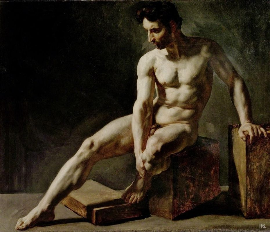 hadrian6:  Seated male nude. late 19th.century. Jean Baptiste Edouard De Taille. French. 1848-1912. oil on canvas. http://hadrian6.tumblr.com