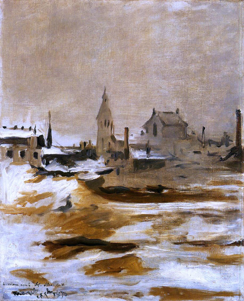 worldpaintings:  Edouard Manet Effect of Snow at Petit-Montrouge, 1870, oil on canvas, 61.6 x 50.4 cm, National Museum of Wales, Cardiff, UK.