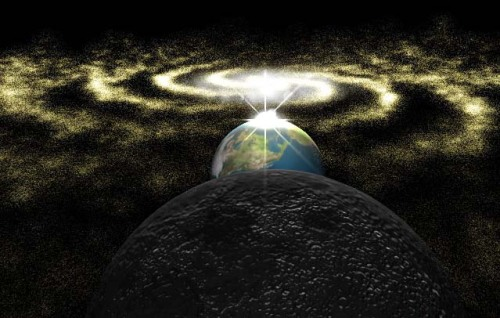 NASA's interpretation of Galactic Alignment - This will take place 12.21.12It doesn't really hold much significance, but it is a rare occurance where the solstice point on our Sun (or the exact center of the Sun as seen from Earth) is lined up with the exact center of the galactic equator. The galactic equator is projected to run roughly through the middle of the Milky Way, a dark band often refered to as the Dark Rift. Though it's not ACTUALLY a rift, this alignment is one theory to be what the Mayans were refering to with the event that will happen on 12.21.12. The winter solstice moves about .01 degrees every year and so it completes a full 360 degree movement every 26,000 years, which is the point it will fall on the 21st! There won't be anything spectacular to see and I highly doubt the world is going end because of it, but it's a pretty cool occurance to nerd out about :3
