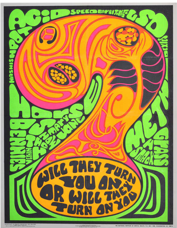 Anti drug poster will they turn you on or will they turn on you 1970
