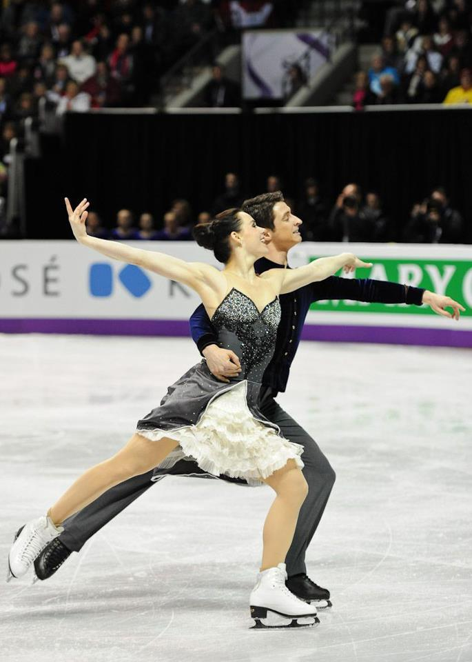 Tessa Virtue & Scott Moir  Hometown favourites Tessa Virtue and Scott Moir lit up the Budweiser Gardens with score of 73.87, good for second place after the short dance Photo & Caption from Skate Canada