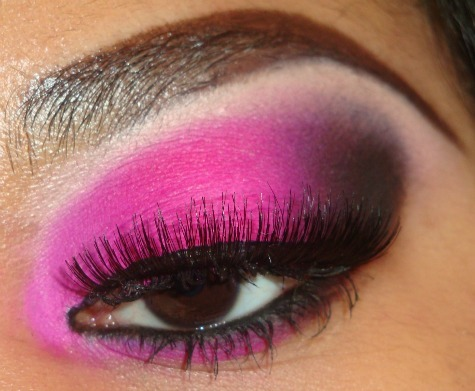 Bright Pink to Purple Eyeshadow tutorial here  http://youtu.be/46aC5sBa26I you can see more of my tutorials like this here http://www.youtube.com/user/MakeMeUpbyWhitney?feature=mhee