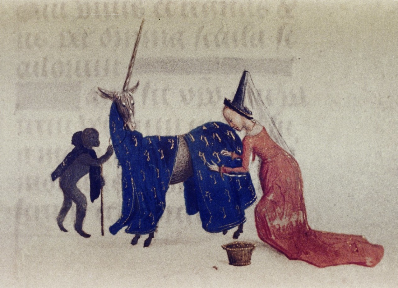 discardingimages:  lady with the well-groomed unicorn and the monkey squire 'Hours of Engelbert of Nassau', Flanders ca. 1470-1490. Bodleian Library, MS. Douce 219, fol. 96v