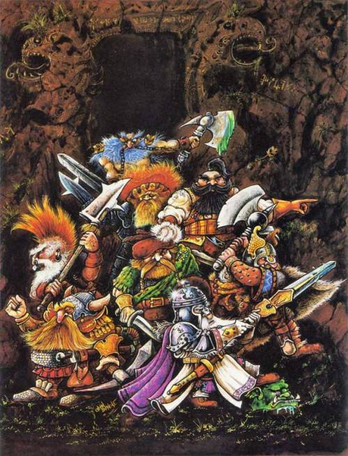 "civilianzero:  oldschoolfrp:  ""Dwarf Lords of Legend"" by John Blanche, from Heroes for Wargames, Dragon's World Ltd., 1986.  This was the box cover art for a set of 8 dwarf miniatures sculpted by Alan and Michael Perry and it appeared on the cover of the second Citadel Journal in Autumn 1985.  I love Dwarves. Especially crazy ones."