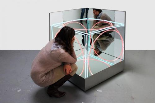 Danish artist Jeppe Hein, Neon Mirror Cube II, Contemporary-Art-Blog