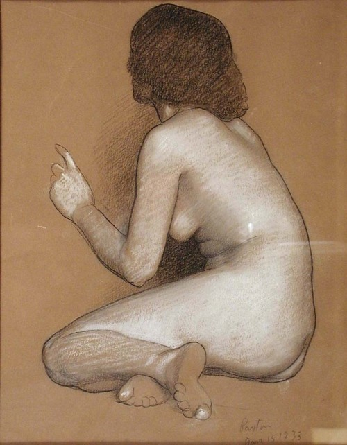 William McGregor Paxton (American, 1869-1941) Study for Nausicaa Charcoal heightened with white on tan paper 1933 Signed and dated in pencil L.R.: Paxton / Jan 15 1933