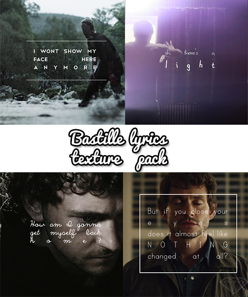 oscarjaenada:  Bastille Lyrics texture pack by Daiya Darko So here's my first texture pack! I just really, really like Bastille. Contains 9 textures Three of which are light leaks One is white Don't steal this, man. I put off a end-of-semester project to make these Edits in the promo made by my beautiful beta, Jessie.
