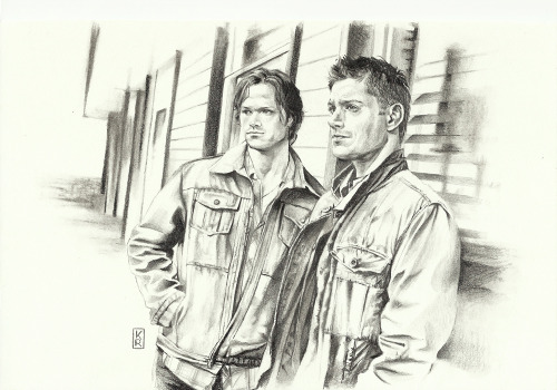 Sam and Dean, pencil on paper.   A birthday gift for my friend Ilaria. Click image for bigger view.